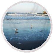 Birds At Dusk Vanilla Pop Round Beach Towel