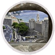 Bird's Eye View Of Dubrovnik Round Beach Towel