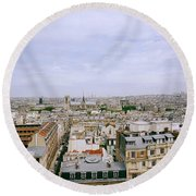 Panoramic Paris Round Beach Towel