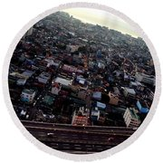 Birds Eye View Of The Pasay City Round Beach Towel