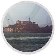 Birds In Free Flight At Alcatraz Round Beach Towel