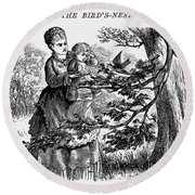 Birds Nest, 1873 Round Beach Towel
