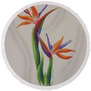 Birds Of Paradise -in Love Round Beach Towel
