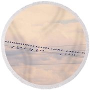 Birds On A Wire Pink And Blue Round Beach Towel