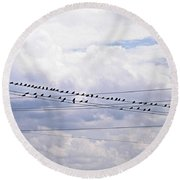 Birds On A Wire Pushed Round Beach Towel