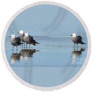 Birds On The Beach Round Beach Towel