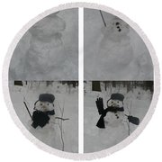Birth Of A Snowman Round Beach Towel