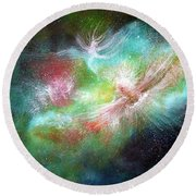 Birth Of Angels Round Beach Towel