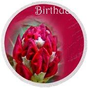 Birthday Card - Red Azalea Buds Round Beach Towel