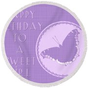 Birthday Girl Greeting Card - Mourning Cloak Butterfly Round Beach Towel