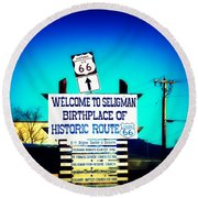 Birthplace Of Route 66 Round Beach Towel