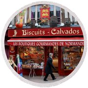 Biscuits And Calvados Round Beach Towel