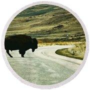 Bison Crossing Highway Round Beach Towel