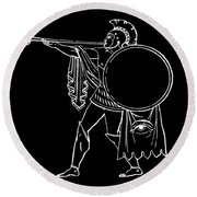 Black And White Ancient Greek Warrior Round Beach Towel