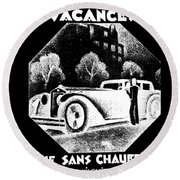 Black And White French Car Round Beach Towel