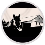 Black And White Horse Round Beach Towel