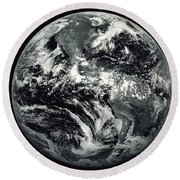 Black And White Image Of Earth Round Beach Towel