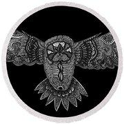 Black And White Owl Round Beach Towel