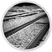 Black And White Railroad Tracks Round Beach Towel