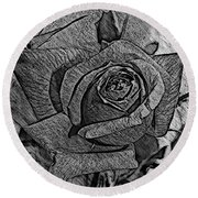 Black And White Rose Sketch Round Beach Towel