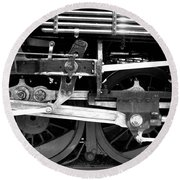Black And White Steam Engine - Greeting Card Round Beach Towel