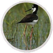 Black And White Stilt Round Beach Towel