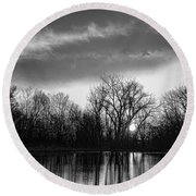 Black And White Sunrise Over Water Round Beach Towel by James BO  Insogna