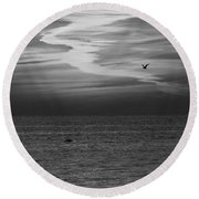 Black And White Sunset Round Beach Towel by Aimee L Maher Photography and Art Visit ALMGallerydotcom
