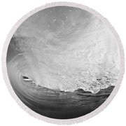 Black And White Wave Breaking On Makena Shore Round Beach Towel