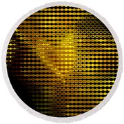 Black And Yellow Abstract I Round Beach Towel