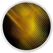 Black And Yellow Abstract II Round Beach Towel