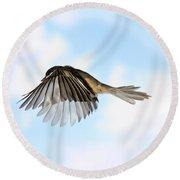 Black-capped Chickadee In Flight Round Beach Towel