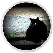 Black Cat Beauty Round Beach Towel