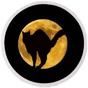 Black Cat Moon Round Beach Towel