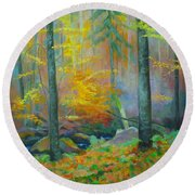 Black Forest Stream Round Beach Towel