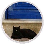 Black Greek Cat Round Beach Towel