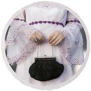 Black Handbag Round Beach Towel by Joana Kruse