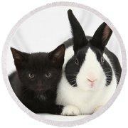 Black Kitten Dutch Rabbit Round Beach Towel