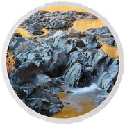 Black River Reflections At Johnsons Shut Ins State Park Vi Round Beach Towel