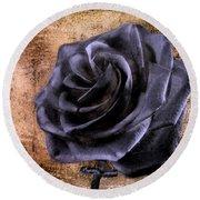 Black Rose Eternal   Round Beach Towel by David Dehner
