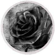 Black Rose Eternal  Bw Round Beach Towel