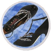 Black Satin And Crystal Dragonfly Pumps Round Beach Towel