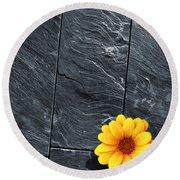 Black Schist Flower Round Beach Towel by Carlos Caetano