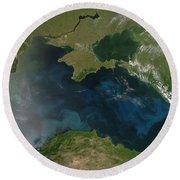 Black Sea Phytoplankton Round Beach Towel by Nasa
