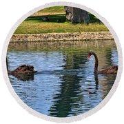 Black Swan's In Palm Springs Round Beach Towel