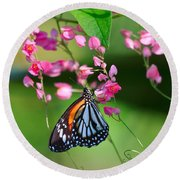 Black Veined Tiger Butterfly Round Beach Towel