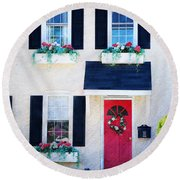 Black Window Shutters With Flowers Round Beach Towel