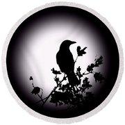 Blackbird In Silhouette  Round Beach Towel by David Dehner