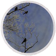 Blackbirds Round Beach Towel