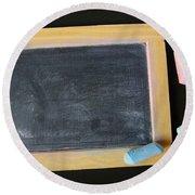 Blackboard Chalk Round Beach Towel by Carlos Caetano